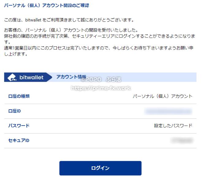bitwalletアカウント開設完了メール